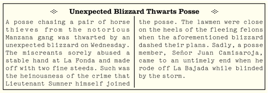 Unexpected Blizzard Thwarts Posse